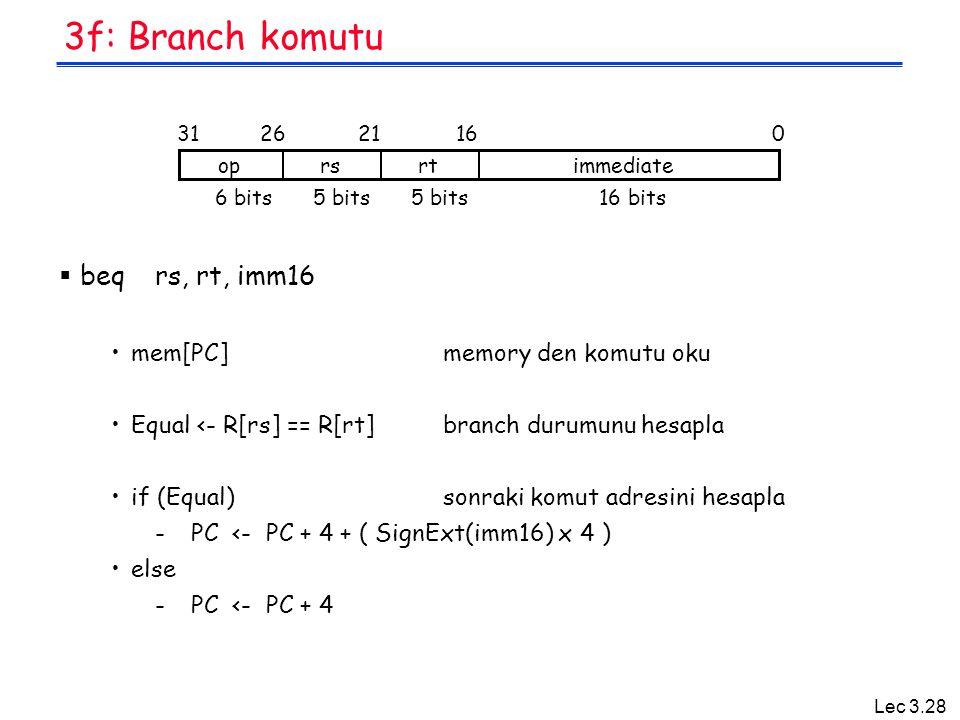 3f: Branch komutu beq rs, rt, imm16 mem[PC] memory den komutu oku